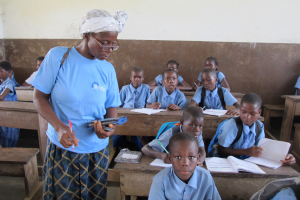 A government teacher in Liberia supported by Bridge