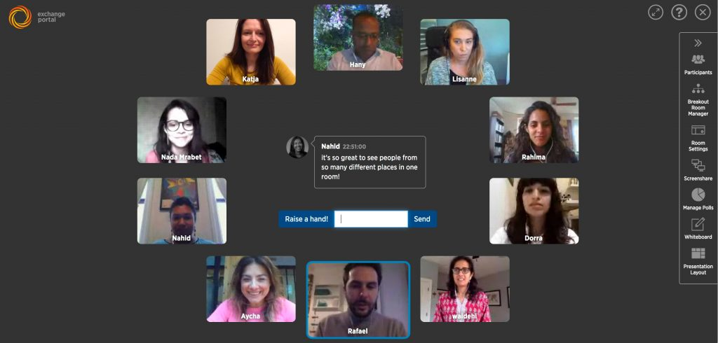 """The Exchange Portal is a video conferencing platform that has been custom designed in collaboration with technologists and educators, for cross-cultural communication, based on the best practices of the study of conflict resolution. It builds on research that suggests synchronous on-line communication (live communication in real-time) when paired with new pedagogies can build human relations as effectively as in-person contact."""